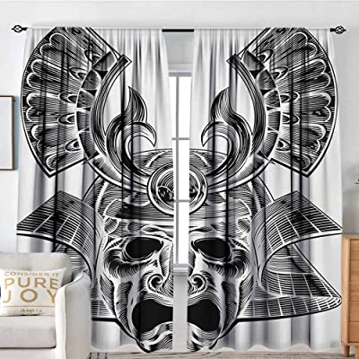 "Petpany Rod Pocket Curtains Japanese,Vintage Ancient Experienced Japanese Mask with Royal Lines and Shapes Design,White Black,Insulating Room Darkening Blackout Drapes for Bedroom 54""x63"": Home & Kitchen"