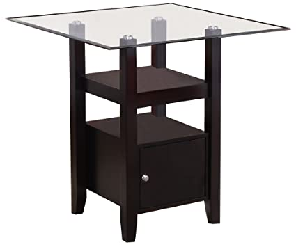 Kings Brand Furniture   Cappuccino Finish/Glass Top Counter Height Dining  Table Storage