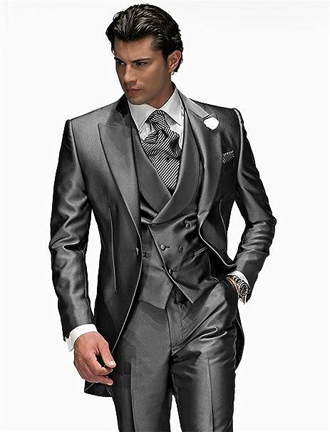 shenlinqij para hombre boda graduación plata gris 3 piezas esmoquin trajes  para novios  Amazon.com.mx  Ropa d4fab7d9d10