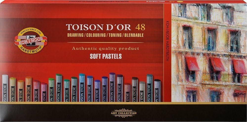 Ami K/ünstlerbedarf NEU Toison D/´or Set 48 Farben Pastellkreide