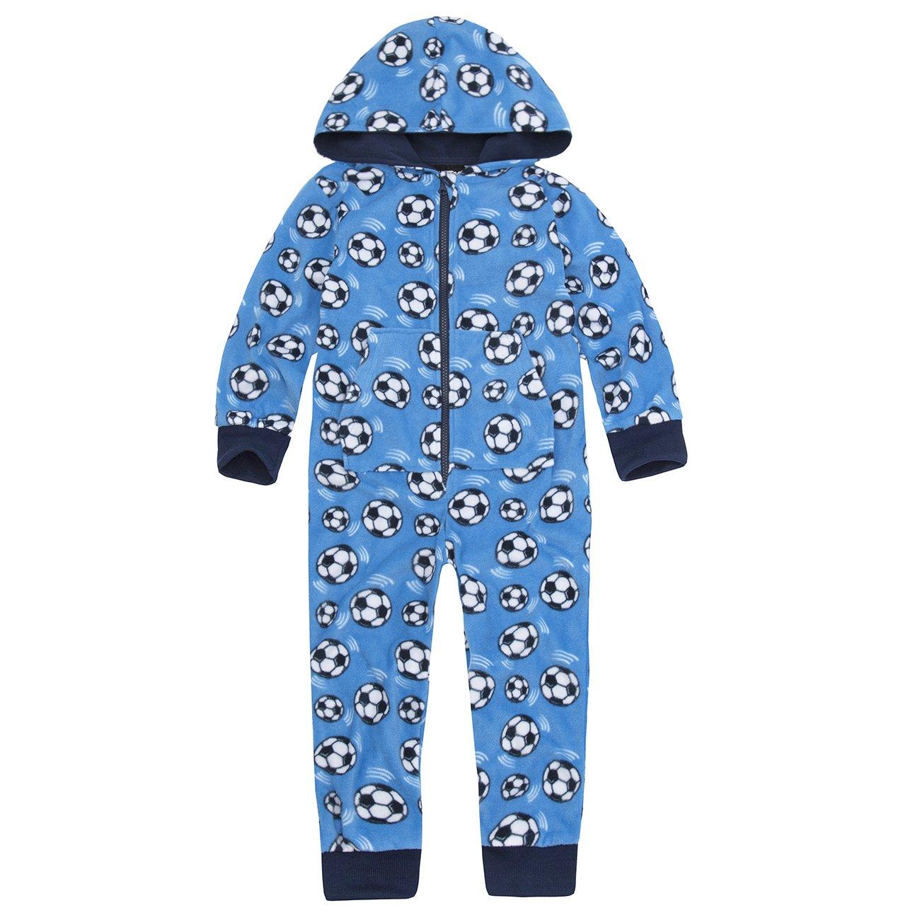 Onezee Kids Boys Fleece Jumpsuit (Sizes 2-6 Years) Hooded Football Pyjamas