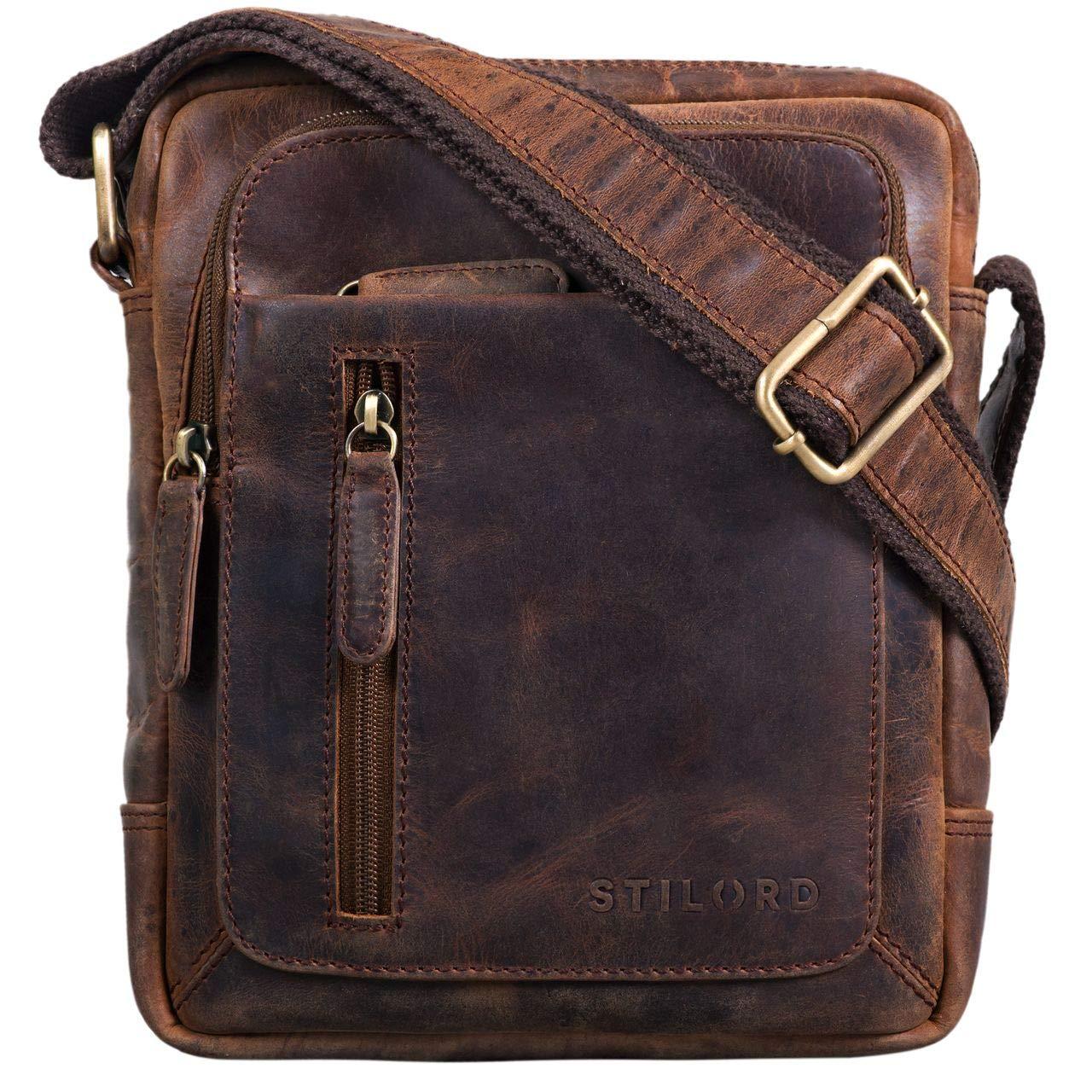 0866891277608 STILORD  Jamie  Herren Ledertasche Umhängetasche klein Vintage Messenger Bag  Herrenhandtasche für 9.7 Zoll iPad Moderne Leder Schultertasche für Männer