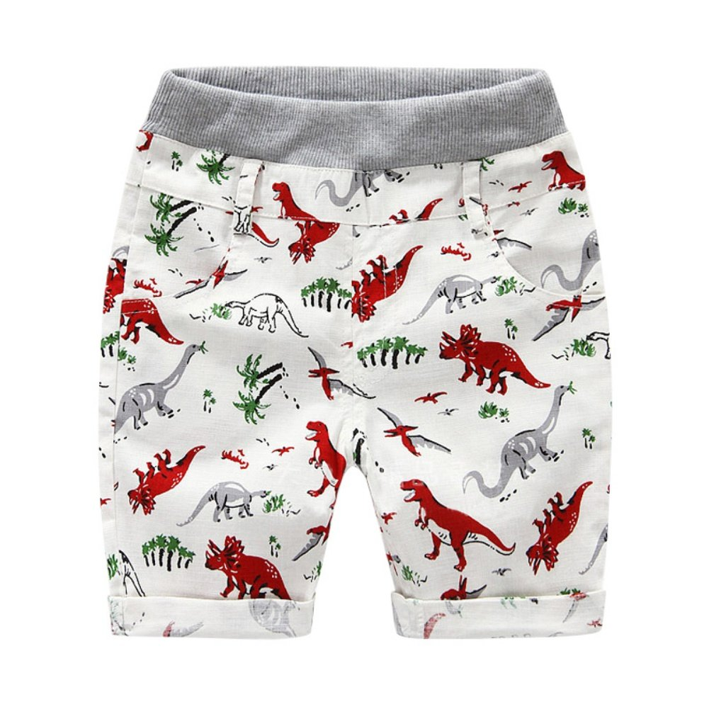 BOBORA Baby Boys Summer Shorts Cartoon Prints Elastic Waist Trouser for 2-6 Years Old BON-N-1239