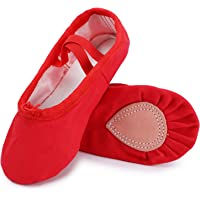 UBELLA Zapatillas de ballet de lona para niñas, suela de cuero, zapatos de baile