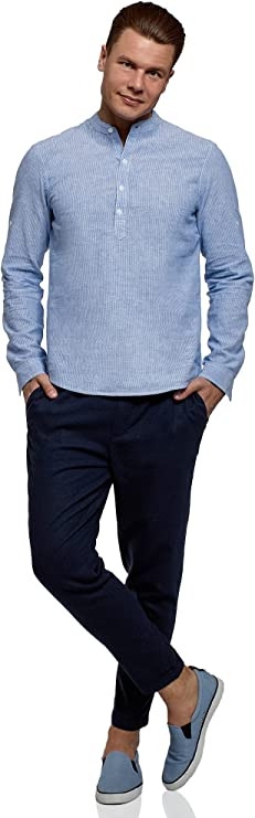 oodji Ultra Hombre Camisa de Lino con Cuello Mao