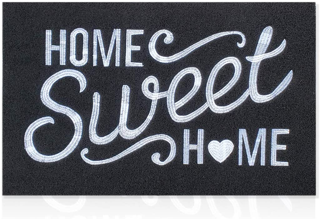 Black Welcome Mat Outdoor with Non Slip Rubber Backing Embroidery Weaving Home Sweet Home Indoor Doormat Absorb Mud High Traffic Areas Entrance Mats for Front Door