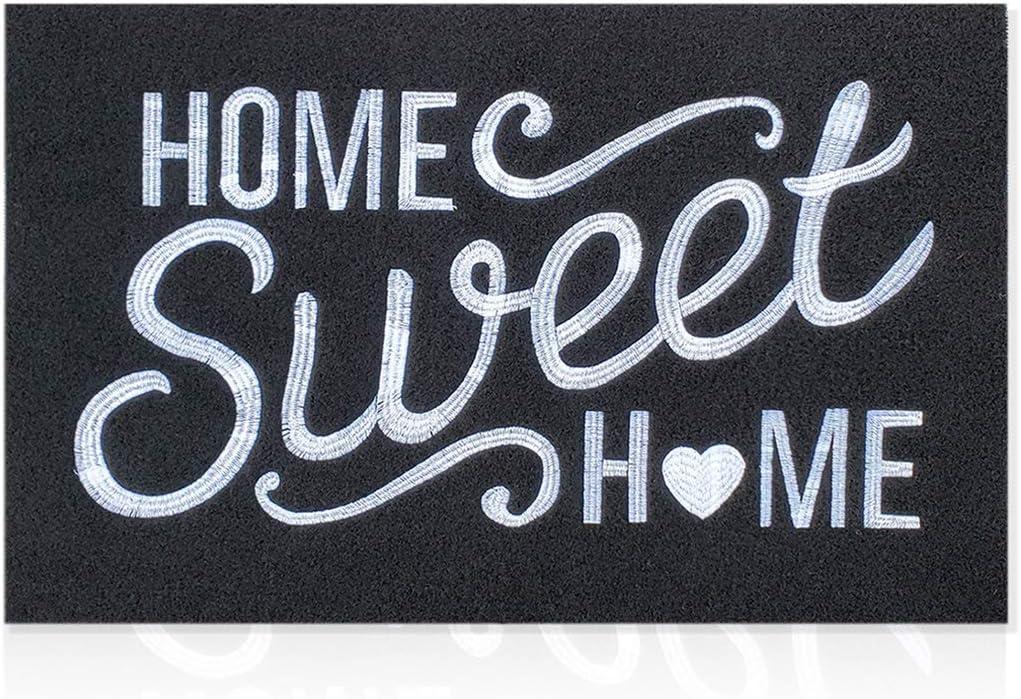 AAZZKANG Home Sweet Home Door Mat Outdoor Indoor Black Welcome Mat Large 24