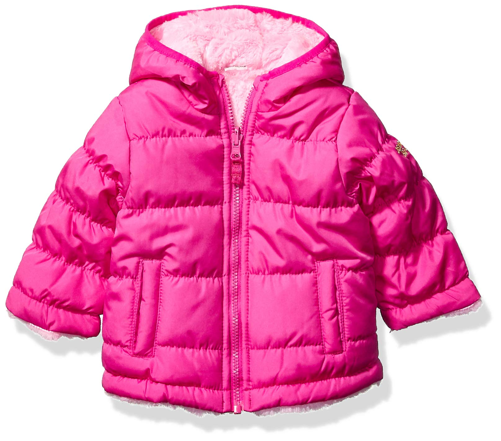 Osh Kosh Baby Girls Reversible Puffer Jacket Coat, Fuchsia to Cozy Pink, 12Mo by OshKosh B'Gosh