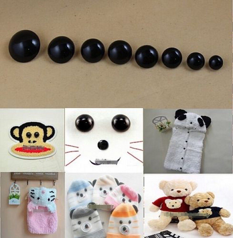 CHENGYIDA 100-PACK 16mm Sew on Glossy Black Shank Acrylic Button Bear Doll Nose Eyes Black Eye Button Coat Button Scarpbook Embellishment Craft Decoration