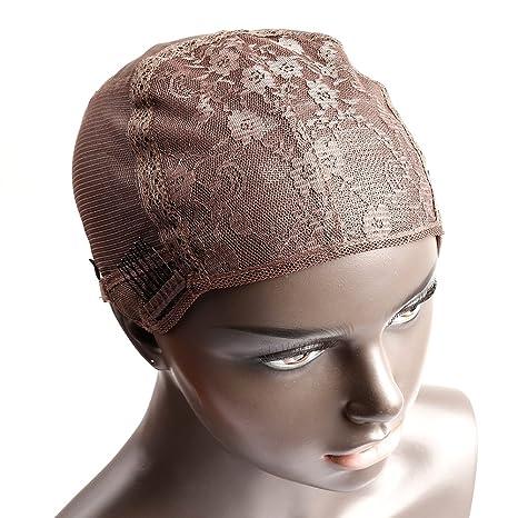 Bella Hair Casquillos Pelucas de Encaje Suizas para Pelucas Fabricación Marrón Tamaño Pequeño - con Correas