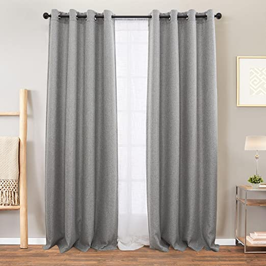 Amazon Com Vangao Grey Linen Textured Curtains For Bedroom 84 Inches Long Room Darkening Window Curtain Grommet Light Reducing Drapes Living Room Curtain 1 Pair Gray Kitchen Dining
