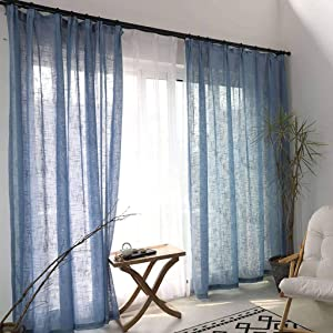 ILMF Semi-Sheer Curtain, Linen Voile Window Cozy Breathable Light Blocking Room Drapes Antique Decoration Drapery Great for Balcony Bedroom Patio-200x270cm(79x106inch)-Lake Blue 1 Panel