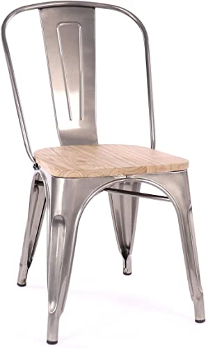 Design Lab MN Gunmetal Stackable Dining Chairs, Set of 4, Light Wood