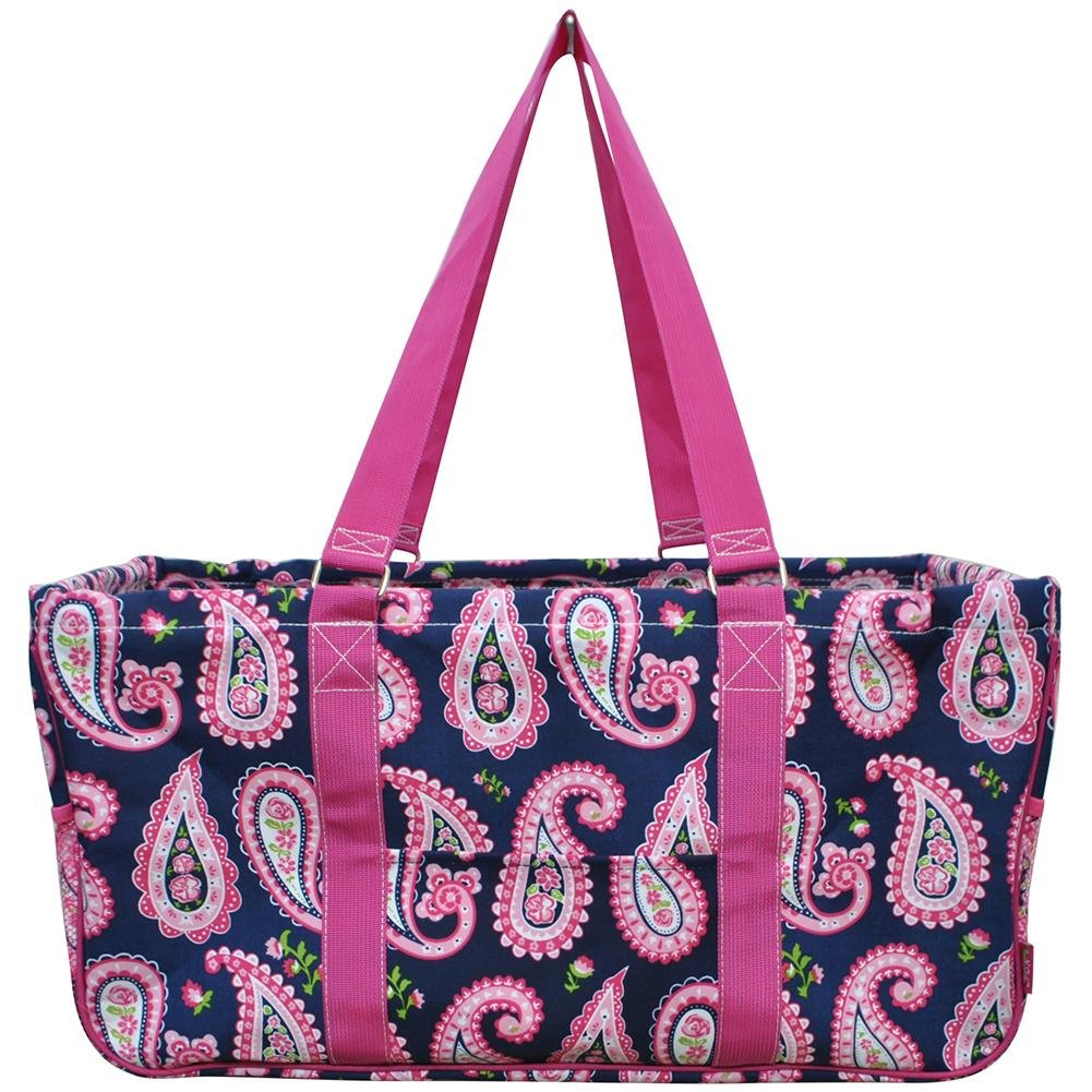 N. Gil All Purpose Open Top 23'' Classic Extra Large Utility Tote Bag 3 (Paisley Hot Pink)