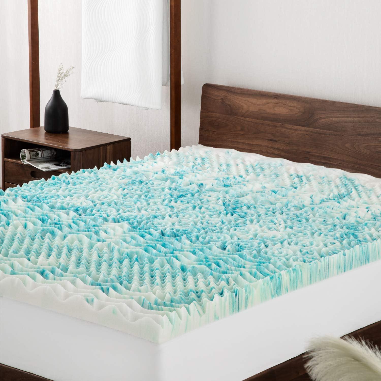 Bedsure Topper Viscoelástico 135x190x7cm - Topper Colchón Antiestático con 1 Funda Extraíble y Lavable - Sobrecolchon Espuma con Efecto Memoria ...