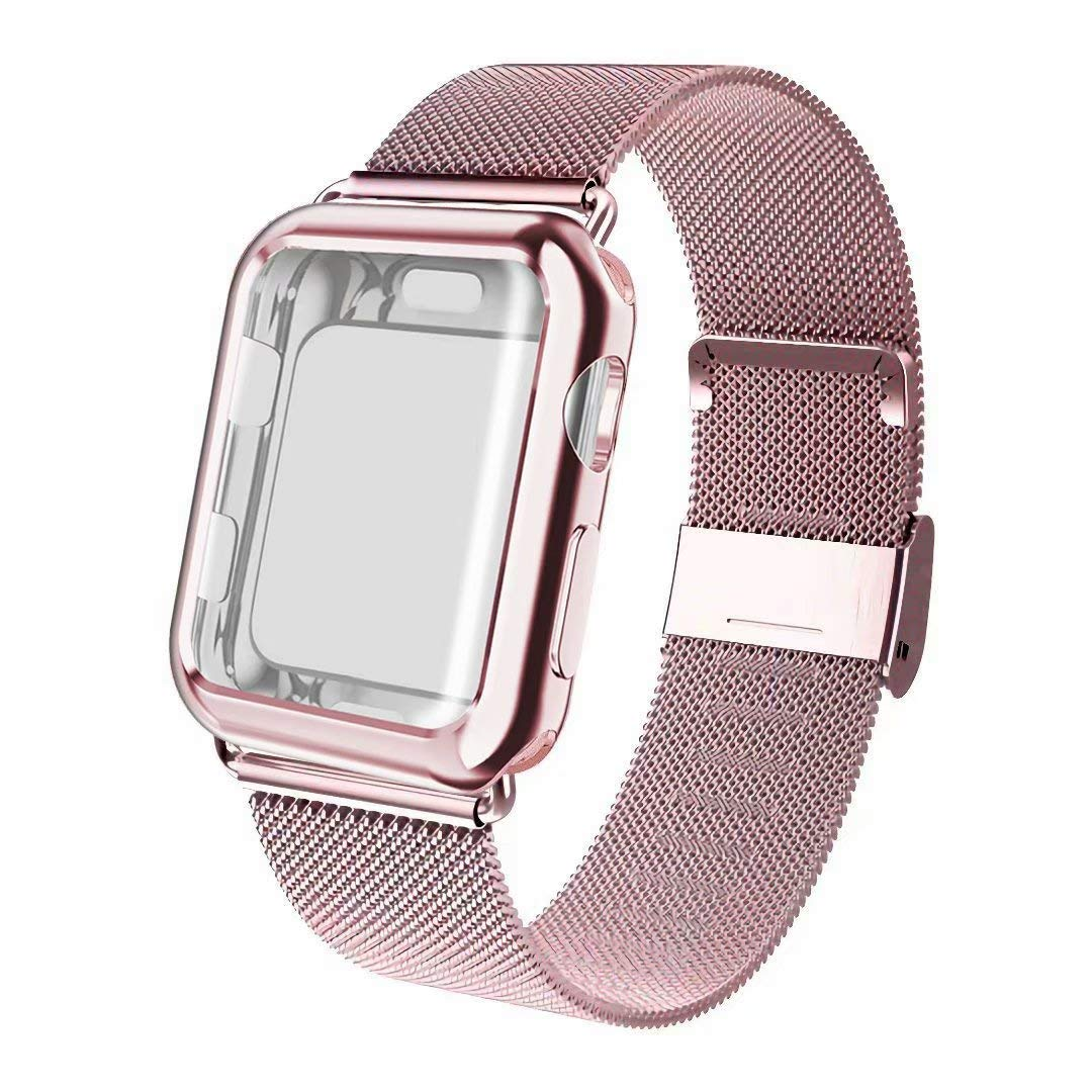 ADWLOF Compatible for Apple Watch Band 38mm Screen Protector Case, Sports Wristband Strap Replacement Band with Protective Case Compatible for iWatch Series 3/2/1,Rose Gold by ADWLOF