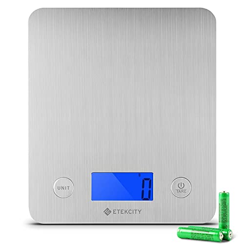 Etekcity Digital Kitchen Food Scales, Electronic Stainless Steel Weighing Cooking Scale with 30% Larger Platform & Backlight Display, 11lb/5kg, Ultra Slim Design, Silver