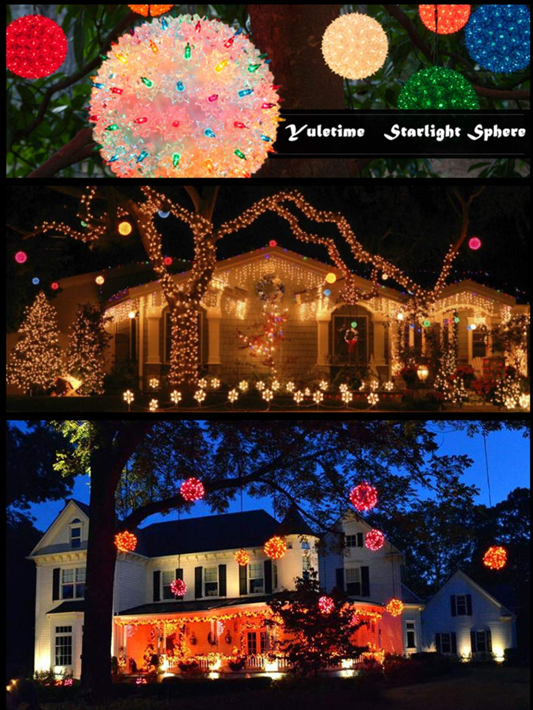amazoncom yuletime commercial grade starlight sphere lights ul certified hanging christmas ornament yuletide decor lights 6 inch 50 lights