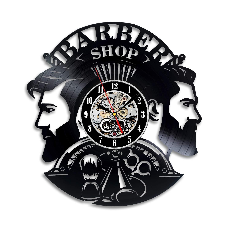 Handmade Solutions EU Barber Shop Sign Logo 12'' Vinyl Record Wall Clock - Hair Professional Stylist Gift