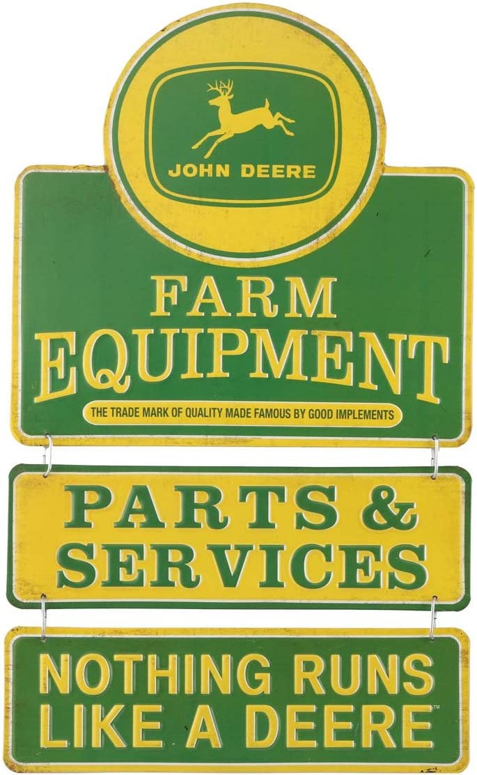 Open Road Brands John Deere Nothing Runs Like a Deere Embossed Tin Metal Wall Art Sign - an Officially Licensed Product Great Addition to Add What You Love to Your Home/Garage Décor