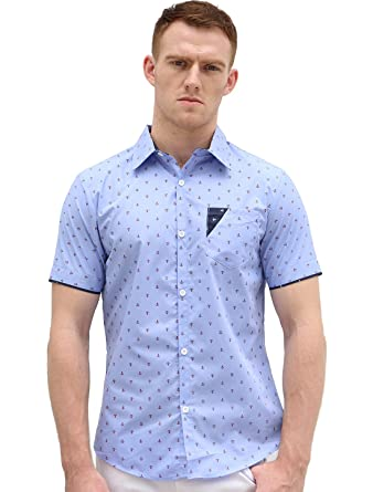 Allegra K Men Point Collar Button Down Short Sleeve Anchor Pattern ...