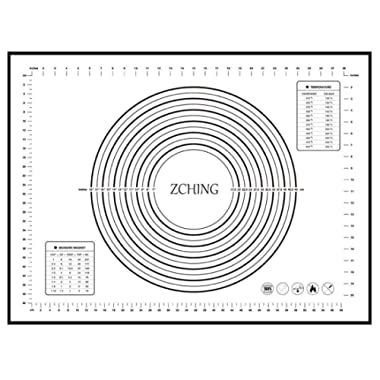 "ZCHING Silicone Pastry Mat with Measurement Not-Slip Rolling Dough Mats for Baking 24"" x 16"" (black)"