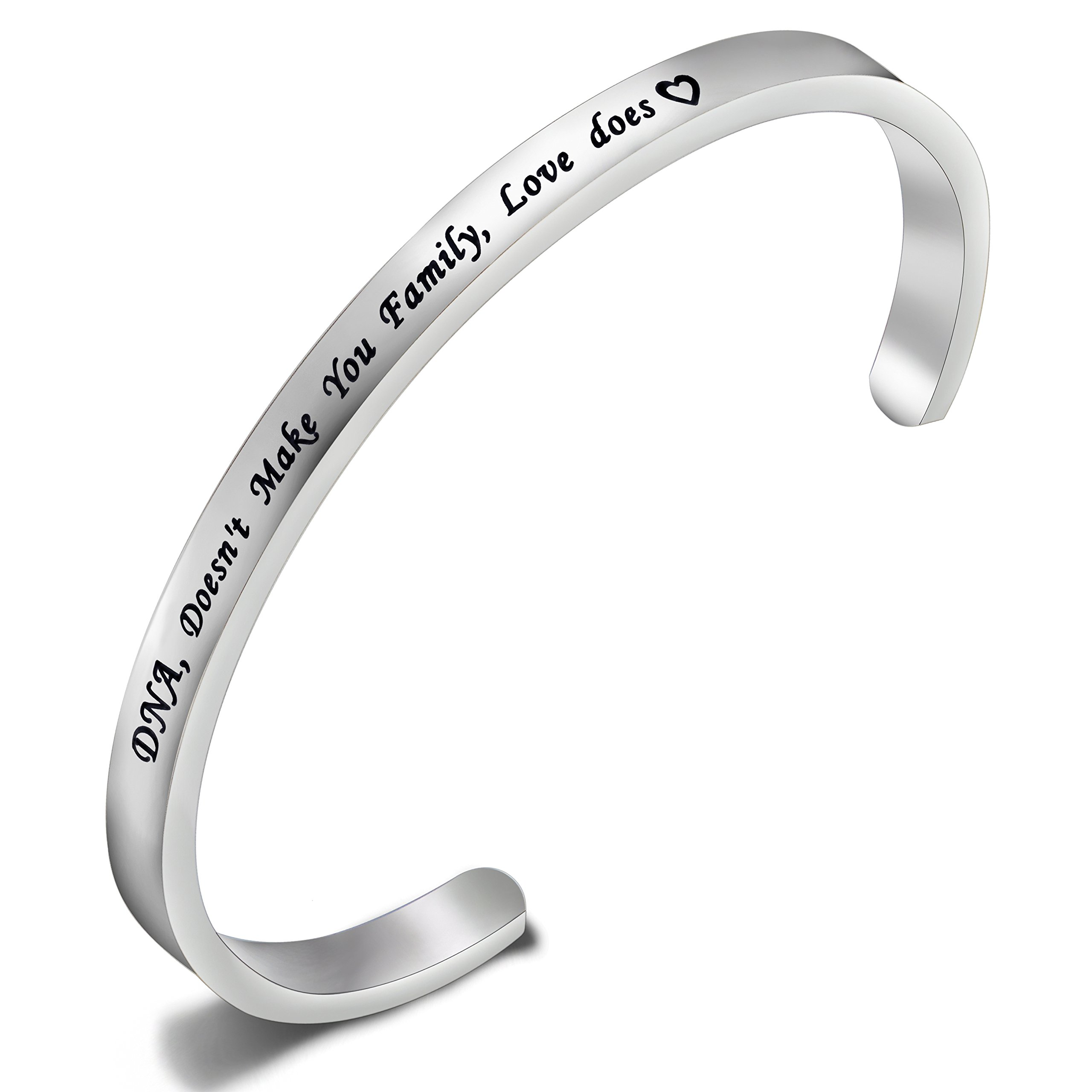 FEELMEM Stepdaughter Bangle DNA Doesn't Make You Family Love Does Cuff Bangle Bracelet,Family Jewelry Gift for Adopted Child Step Child Stepdaughter (DNA Doesn't.-Silver)