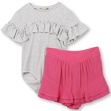 f9e01b326e0 Amazon.com  Speechless Girls  Big Bodysuit and Shorts 2-Piece Outfit Set   Clothing