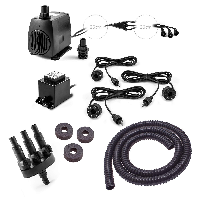 CLGarden SP3-S Pompe de fontaine Kit SP3 de s pour fontaine avec 3 Eau 3 Sortie Éclairage LED Jeu d'eau Pompe de fontaine 12 V AC 1300 L/H