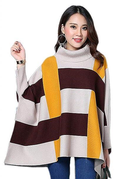 Jersey Mujer Elegantes Moda Sudaderas Sweater Invierno Manga Larga Mangas De Murciélago Cuello Alto Abiertas Estampadas Patrón Dama Anchos Jerseys Jerseys ...