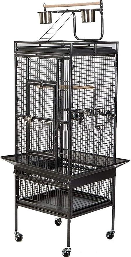 Jaula dpájaros duradera y ecológica, Jaula de vuelo para pájaros para periquitos para pájaros grandes, jaulas de loros para exteriores, jaulas de loro caseras de lujo, jaula de pájaros de hierro negro