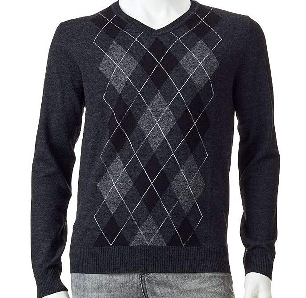 LIZ CLAIBORNE Apt 9 Mens Argyle Merino Wool Blend Sweater V-Neck Dark Charcoal
