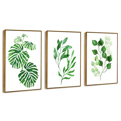 Hepix 3 Panel Tropical Leaves Wall Art Larger Simple Green Plant Canvas Print Framed Wall Paintings For Bedroom Bathroom Restroom Modern Home