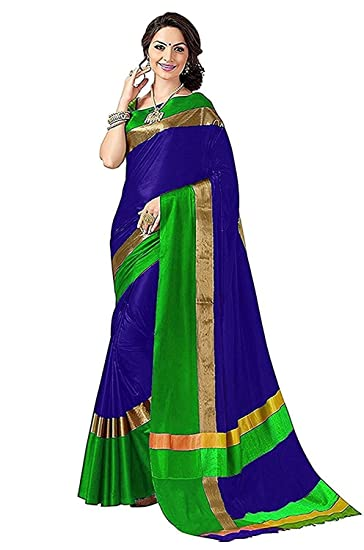 0b02daf7faac22 tulsi fab Women s Cotton Silk Saree With Blouse Piece(TF 38 Yellow Free  Size)  Amazon.in  Clothing   Accessories