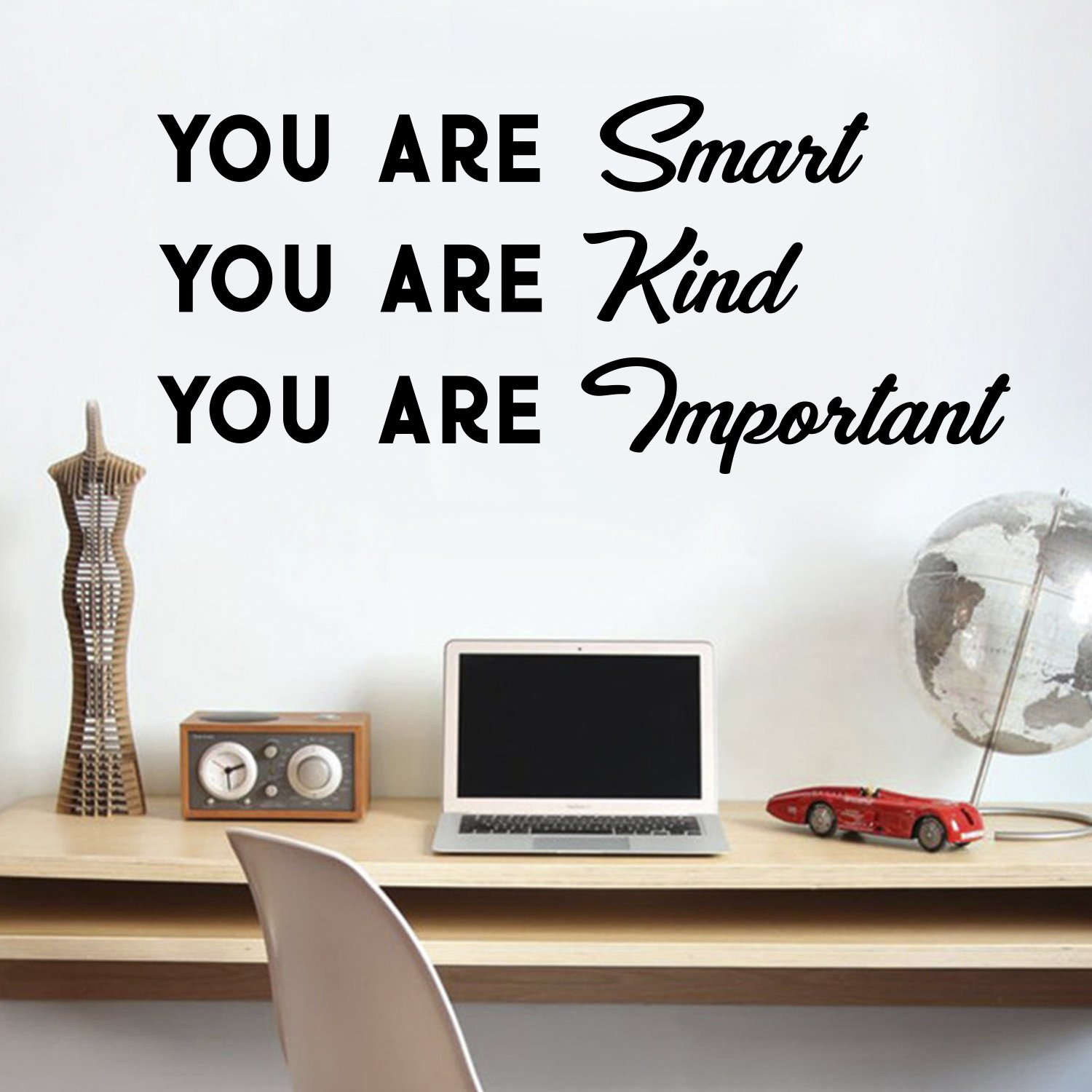 Vinyl Wall Art Decal - You are Smart You are Kind You are Important - 16'' x 36'' - Motivational Quote Words Teen Boy Girl Bedroom Living Room Home Office Decor - Trendy Modern Wall Sticker Decals