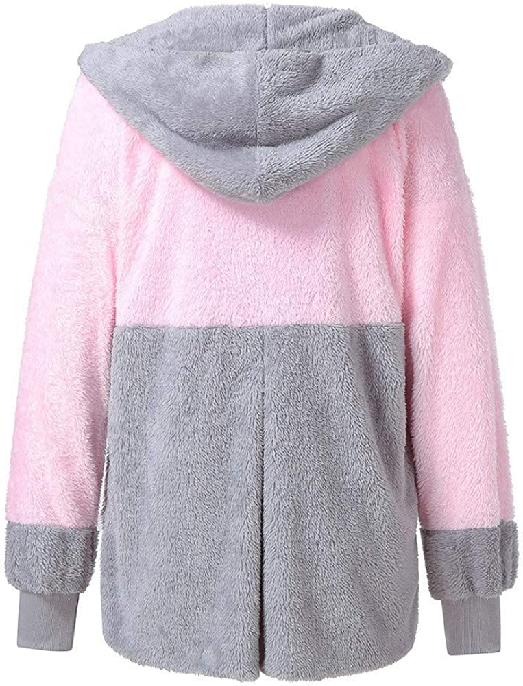 VEFSU Womens Oversized Open Front Casual Hooded Pockets Sweaters Coat