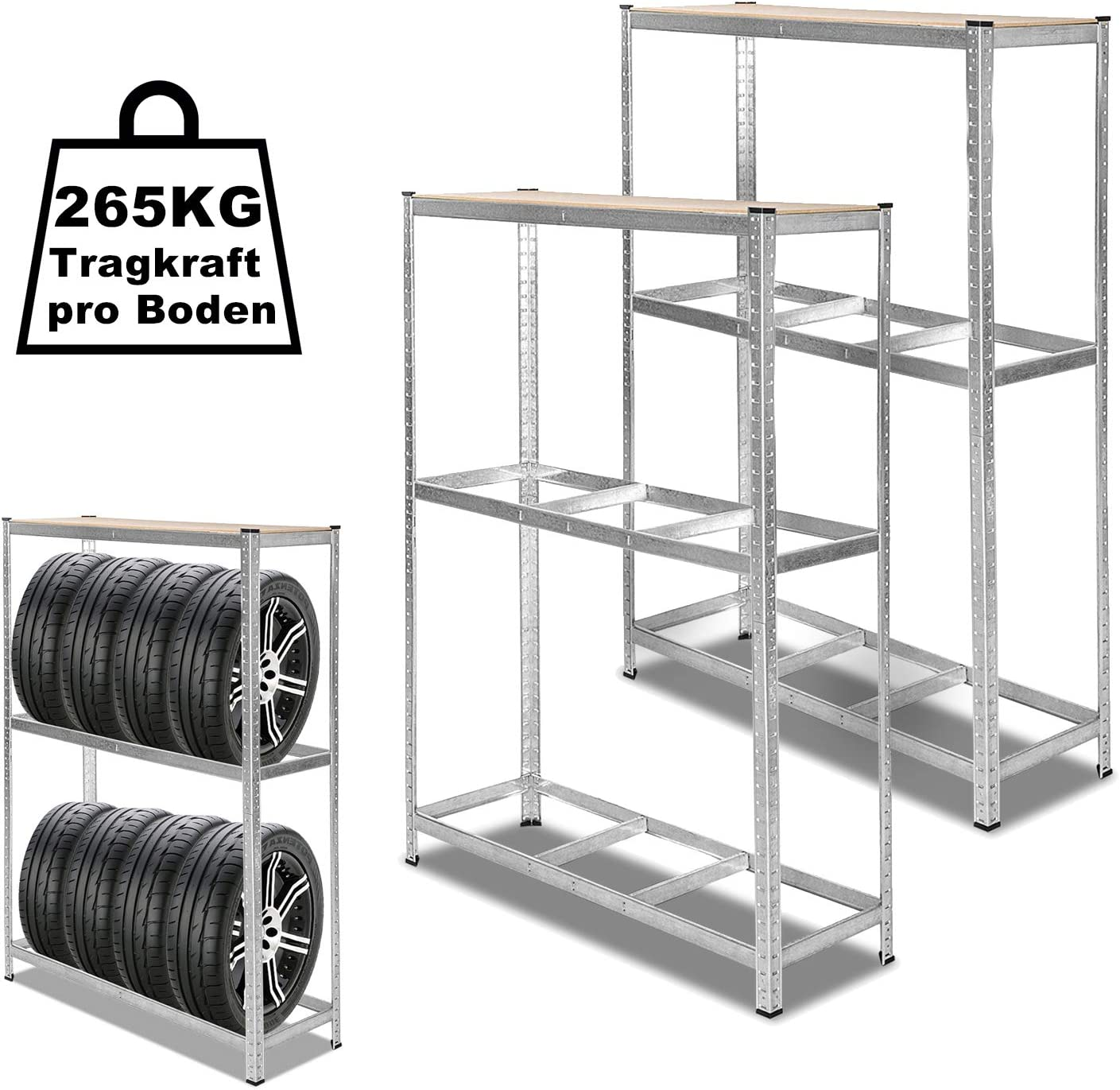 Hengda 1x Reifenregal Reifenst/änder verzinkt Lagerregal Robust und haltbar 120 x 40 x 180 cm H/öhe des l/ässt sich verstellen