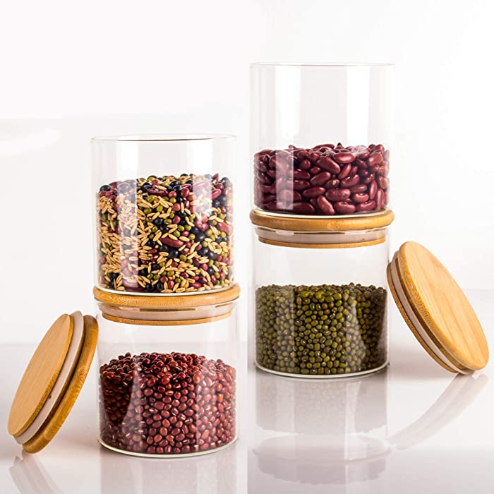 Glass Storage Jars, Glass Food Storage Containers with Sealed Bamboo Lids for Home Kitchen, Tea, Herbs, Sugar, Salt, Coffee, Weed, Flour, Candy, Cookie, Herbs, Grains (4, 550ML)