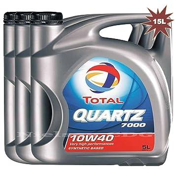 Total Quartz 7000 10w40 - Aceite para motor de gasolina/diese (3 x 5 l, 15 L): Amazon.es: Coche y moto