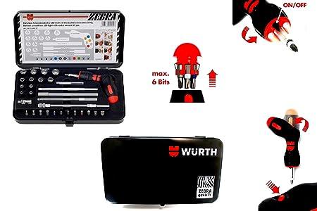Würth Screwdriver M, LED Gun + Tray + Ratchet + Braces + BOX