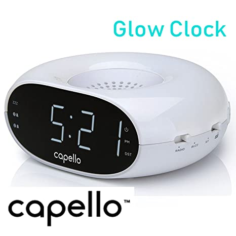 Capello Dual Alarm Glow Clock FM Radio with Large Time Display and Night Light + Line in jack CR10W- White (Renewed)