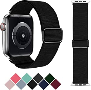 Greatfine Stretchy Solo Loop Strap Compatible with Apple Watch Bands 38mm 40mm,Elastic Nylon Braided Band&Adjustable Buckle Women Men Sport Watch Bands for iWatch Series 6/5/4/3/2/1 SE(Black-38/40)