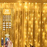 Briignite Window Curtain String Light 300 LED 8 Lighting Modes Fairy Lights Remote Control USB Powered Waterproof Lights…