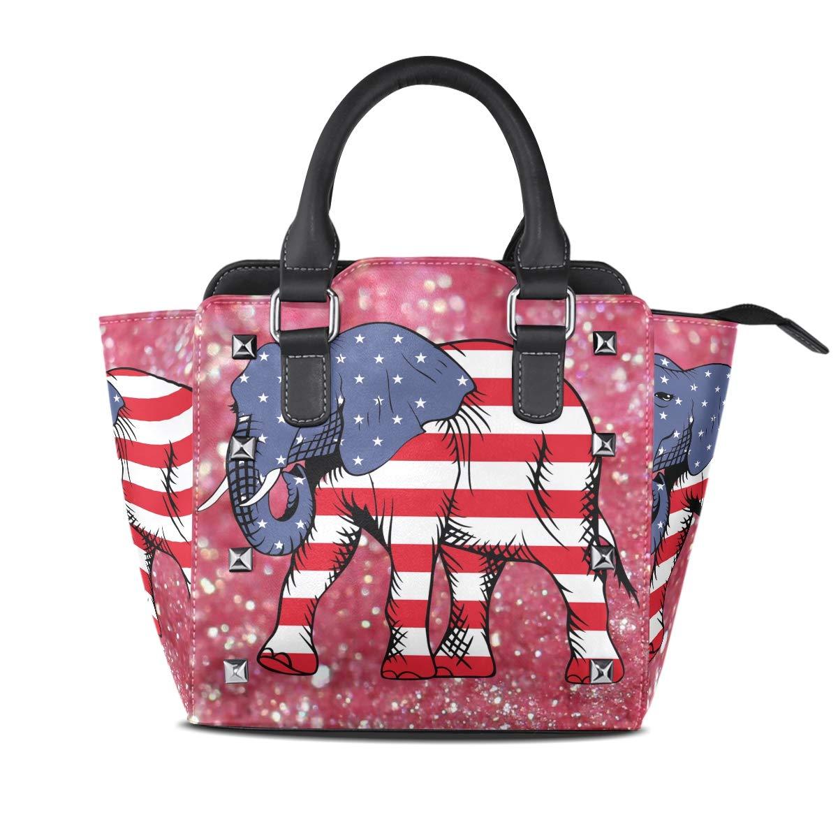 Design 2 Handbag American Flag Elephant In The Galaxy Genuine Leather Tote Rivet Bag Shoulder Strap Top Handle Women
