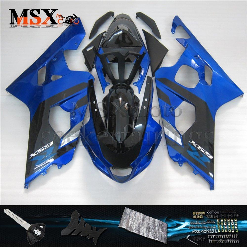 MSX-moto 適応ホンダ Suzuki GSXR600 GSXR750 K4 GSX-R600 GSX-R750 04 05 GSXR 2004 2005年 小R 外装パーツセット ABS射出成型完全なオートバイ車体 青/ブルー&黒/ブラックのボディ   B07F2CP4NP