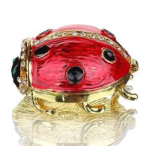 YU FENG Hand- Painted Ladybug Trinket Box with Rich Enamel and Sparkling Rhinestones Jewelry Trinket Box