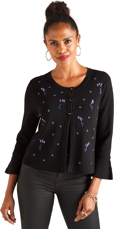 Yumi Flared Sleeve Embroidered Cardigan
