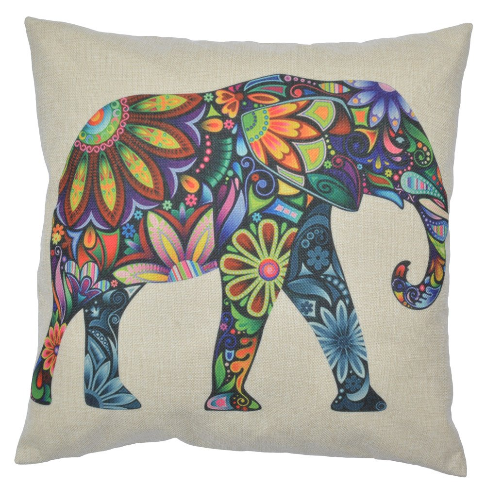 WayHomeDecor Cotton Linen Decorative Throw Pillow Case Cushion Cover Cute Elephant