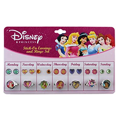 Disney Princess Sticker Earrings and Finger Rings Set - Disney Pretend Jewelery: Home & Kitchen