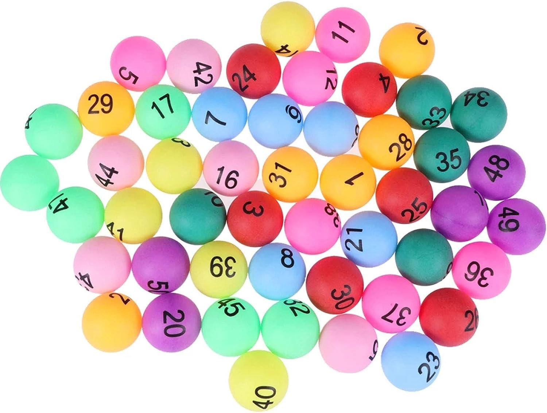 Pelotas de Ping Pong Colores Bolas de Lotería con Número 1-50 Bolas de Ping Pong Pelotas de Tenis de Mesa Bingo Accesorios del Juguete de Lotería para Niños y Adultos al Aire Libre, Juegos de Interior